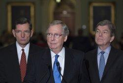 Senate Minority Leader Mitch McConnell speaks in Washington, D.C.