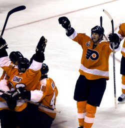 Flyers Chris Pronger celebrates during the 2010 Stanley Cup Finals