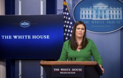 Sarah Huckabee Sanders speaks at the White House Daily Briefing at the White House