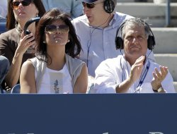 Julie Chen and Les Moonves at the U.S. Open Tennis Championships in New York