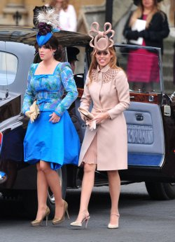 Princess Eugenie and Princess Beatrice arrive at Westminster Abbey in London
