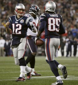 Patriots Brady congratulated Lloyd on touchdown against Texans at Gillette Stadium in Foxborough, MA