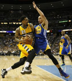 NBA First Round Playoffs Game Two Golden State Warriors vs Denver Nuggets in Denver
