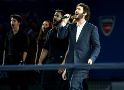 Josh Groben performs at the US Open Tennis Championships
