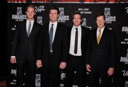 Pekka Rinne, Shea Weber, Mike Fisher and David Poile arrive at the 2012 NHL Awards in Las Vegas