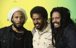 "Ziggy Marley, Robbie Marley, and Rohan Marley attend the premiere of the film ""Marley"" in Los Angeles"