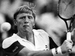 Boris Becker returns ball to John Ross