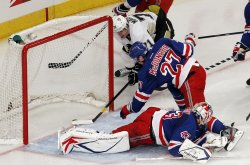 Pittsburgh Penguins Evgeni Malkin scores a goal at Madison Square Garden in New York