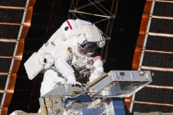 Astronauts conduct the first space walk of NASA mission STS-134