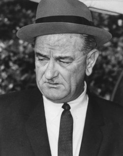 President Lyndon Baines Johnson leaves the White House to attend services at National City Christian Church on Inauguration Day