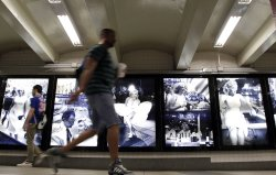 Marilyn Monroe photos on display in New York City Subway