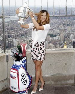 2014 U.S. Women's Open champion Michelle Wie at the Empire State Building