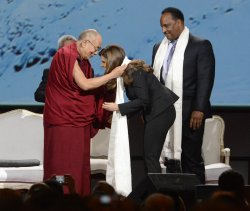 Dalai Lama speaks at the Forum in Los Angeles