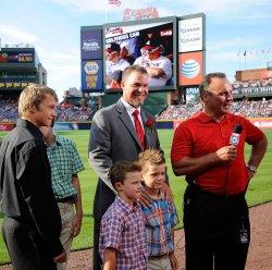 The Atlanta Braves retire longtime third baseman Chipper Jones's jersey in Atlanta