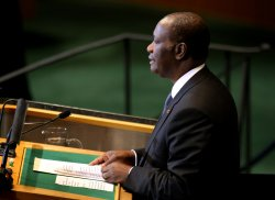 Ivory Coast President Alassane Ouattara addresses the General Assembly at United Nations