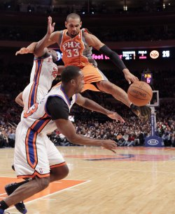 Phoenix Suns Grant Hill and New York Knicks Raymond Hill and Toney Douglas at Madison Square Garden in New York