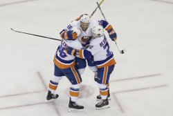 New York Islanders Nikolay Kulemin celebrates after a goal