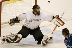 Ducks Goalie Hiller Makes Save Against Avalanche in Denver