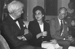 Corazon Aquino with Dr. Benjamin Brown and President Derek Bok of Harvard