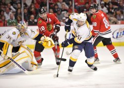Predators' Bouillon Clears Puck Against Blackhawks in Chicago