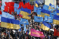 SUPPORTERS OF UKRAINIAN PRIME MINISTER YANUKOVYCH HOLD A RALLY IN KIEV