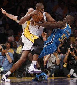 Los Angeles Lakers vs New Orleans Hornets Game 1 NBA Western Conference Playoffs in Los Angeles