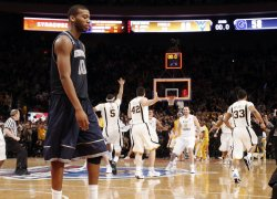 Georgetown Hoyas Greg Monroe (10) reacts at the NCAA Big East Men's Basketball Championships Finals in New York