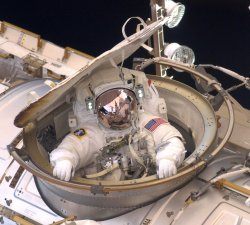 Astronauts conduct the second space walk of NASA mission STS-134