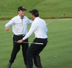 Molinari brothers celebrate half on the third day of Ryder Cup.