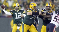 Rodgers throws a pass against the Bears during their game in Green Bay