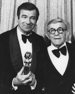 Walter Matthau and George Burns at the 1976 Golden Globe Awards