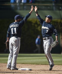 Brewers' Aoki and Gonzalez Celebrate Win Over Cubs in Chicago