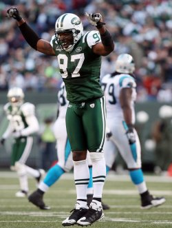 New York Jets Calvin Pace reacts after Carolina Panthers Jake Delhomme is sacked in week 12 of the NFL season at Giants Stadium