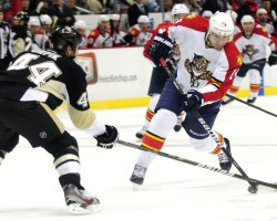 Panthers Tomas Fleischmann Takes Shot on Goal in Pittsburgh