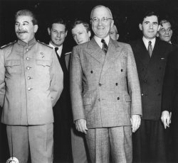Andrei Gromyko with President Truman and Josef Stalin at the Potsdam Conference