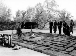 MEMBERS OF KENNEDY FAMILY AT THE GRAVE OF PRESIDENT JOHN F. KENNEDY