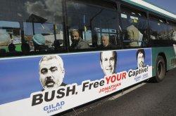 Jerusalem bus banner calls for Bush to release Israeli spy