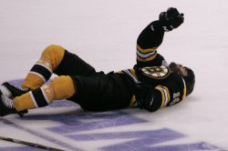 Bruins Horton injured in game 3 of Stanley Cup Finals in Boston, MA.