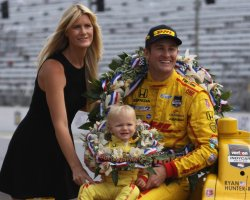Ryan Hunter- Reay and family celebrate winning the 98th Indianapolis 500 at the Indianapolis Motor Speedway