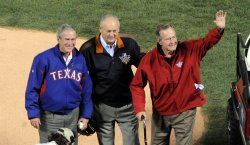 Former presidents George H. W. Bush and George W. Bush at game 4 of the World Series