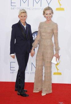 Ellen DeGeneres and Portia de Rossi attend the 64th Primetime Emmy Awards in Los Angeles