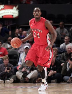 Rutgers Scarlet Knights Jonathan Mitchell at the NCAA Big East Men's Basketball Championships in New York