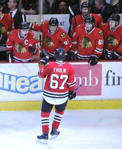 Blackhawks celebrate Frolik goal in Chicago