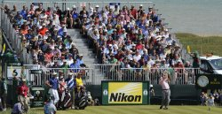 Tom Watson gets a hole in One on the 6th hole during the Open Championship in England.