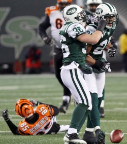 New York Jets Kerry Rhodes and Jim Leonhard (36) react after breaking up a pass intended for Cincinnatti Bengals Chad Ochocinco at Giants Stadium in New Jersey
