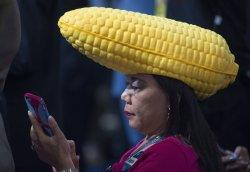 Iowa delegate wears corn hat at the DNC convention in Philadelphia
