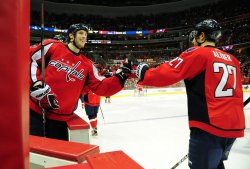 Capitals Brooks Laich celebrates with teammate Karl Alzner in Washington
