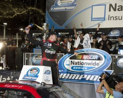 Ricky Stenhouse, Jr. wins the NASCAR Nationwide Series Championship at the Homestead-Miami Speedway in Homestead, Florida.