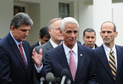 Florida Gov. Crist speaks to the media at the White House in Washington.
