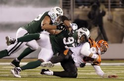 New York Jets Calvin Pace (97) and Jayson Taylor (99) sack Cincinnati Bengals Carson Palmer at New Meadowlands Stadium in New Jersey
